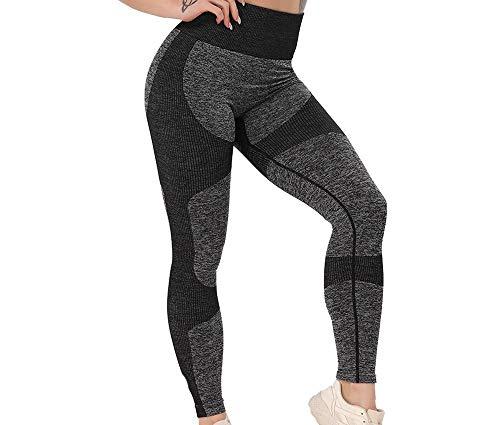 COISINI Pantalones De Yoga para Mujer - Mujeres Pantalones De Yoga Deportes Corriendo Ropa Deportiva Elástica Cintura Alta Leggings Push Up Sin Costuras Barriga Control Gym Girl Leggins,Negro,L