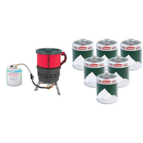 Coleman Fyrestorm PCS Stove Backpacking Stove & Extra Value 6 x C500 Gas Cartridge (Pack of 6) - Green