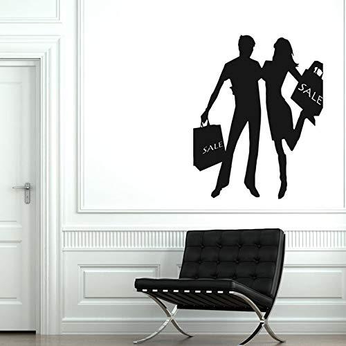 Mural de la etiqueta engomada de la mujer del hombre de la pareja de las compras de la etiqueta de la pared del vinilo para la decoración del centro comercial