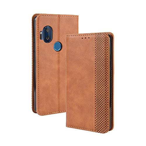 Dedux Flip Hülle kompatibel mit Motorola One Hyper, Retro Leder Brieftasche Abdeckung Magnetverschluss Folio Ständer Kartensteckplätze Handyhülle, Braun