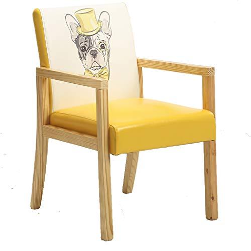 Lxn Simplicité Moderne Cuisine Chaise de Salle à Manger en Cuir PU rembourré avec des Pattes en Bois Solides pour Home Hotels Office - avec accoudoirs - 1pcs
