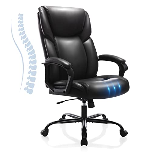 Executive Office Desk Chair High Back Adjustable Ergonomic Managerial Rolling Swivel Task Chair Computer PU Leather Home Office Desk Chairs with Lumbar Support, Black