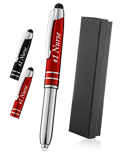 """Gift for Nurses, Great Gift for the RN,Nurse Practitioner, Students, and Grads, Engraved""""#1 Nurse"""" - 3-In-1 Metal Ballpoint Pen,Tablet and Phone Stylus, And LED Flashlight - Red"""