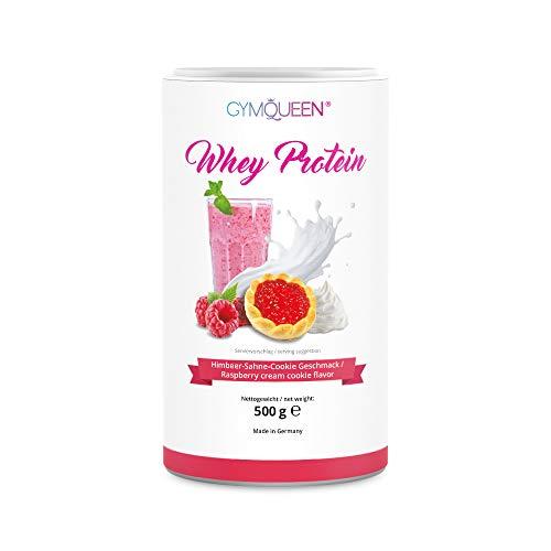 GymQueen Whey Protein 500g | Eiweißpulver, Protein-Shake | kann den Muskelaufbau unterstützen | Protein-Pulver mit 72% Eiweiß | Kalorienarm & Aspartamfrei | Himbeer-Sahne-Cookie
