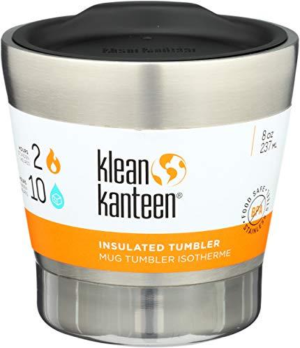 Klean Kanteen Vaso insulado 8oz, Adultos Unisex, Plateado, 88.2 mm H x 88.2 mm W