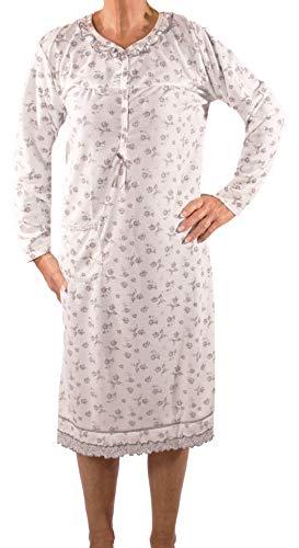 Seniorenmode24 Damen Senioren Oma Nachthemd mit Blumenmuster kuschelig weich aus Baumwolle ideal für pflegebedürftige Omas einfach anzuziehen und super pflegeleicht (weiß, 44/46)