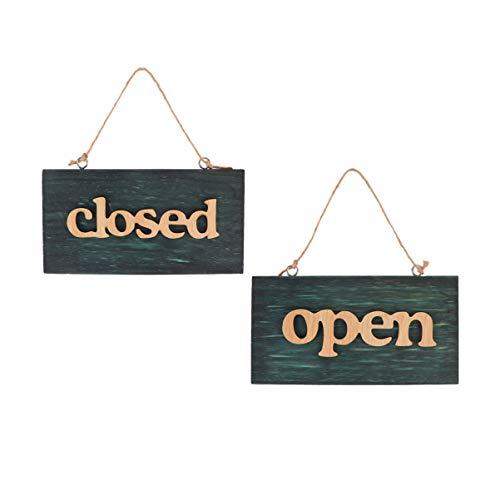 Toyvian 2 Pz Targa in Legno Aperto e Chiuso Open Closed Cartello con Corda per Ristorante caffè Negozio