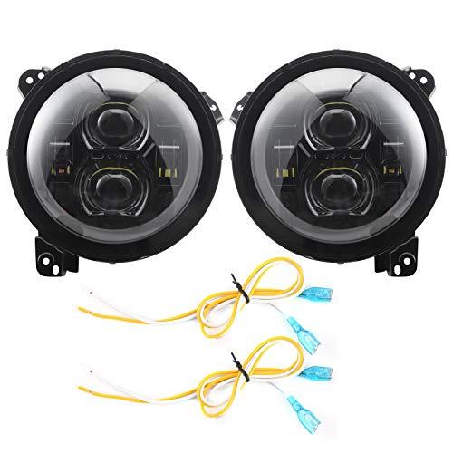 Aramox Luz de circulación diurna, par de luces de circulación diurna de aluminio de 9 pulgadas para coche, 12-48 V, lámpara delantera LED IP68, impermeable, negra, para Wrangler JL 2018201