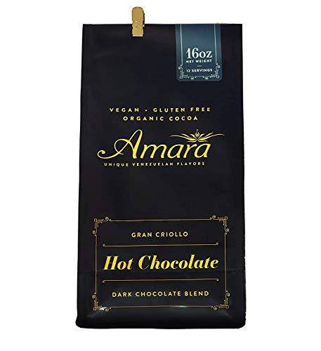 "Amara Unique Venezuelan Flavors. Hot Chocolate ""Gran Criollo"" Dark Chocolate Blend. Made with Certified Organic Cacao Powder 16oz"