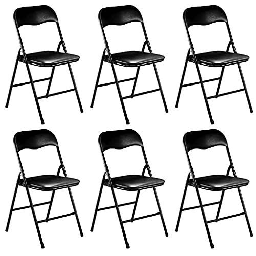 Milani Home s.r.l.s. Set di 6 Sedie Pieghevoli Slim Nere Opache Struttura Nera per Interno Sala da Pranzo Salotto Cucina Ufficio