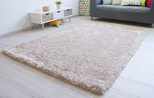 Steffensmeier Hochflor Teppich Jolly | Shaggy Langflor Teppich Wohnzimmer, Schlafzimmer, Beige, Größe: 120x170 cm