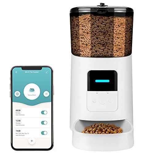 6L Automatischer Futterspender für Katze und Hund, TTLIFE kann APP Verbinden Wendegetriebe Design Abnehmbares Design Futterautomat Futterautomat Aufnahme von Stimme Mahlzeit Timing und Menge