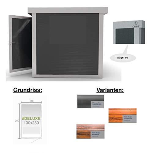 Cube fx Gartenhaus Deluxe S122 130x230x230 cm Straight Line Gerätehaus Geräteschuppen Außen Stuck-Optik/Innen Silber-grau, glatt