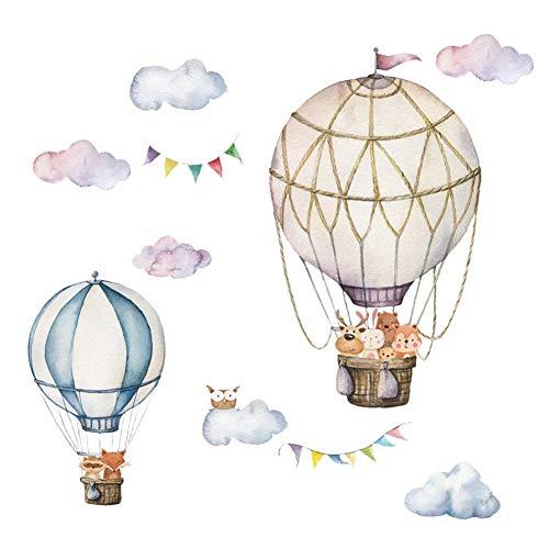Jihan - Adesivo da parete a forma di nuvola con mongolfiera, decorazione per soggiorno, camera da letto, 30 x 90 cm, 2 pezzi