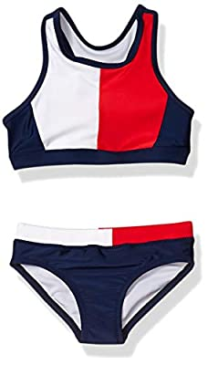 Tommy Hilfiger Kids Girls Two-Piece Swimsuit, Tankini Flag Blue Colorblock, 6X