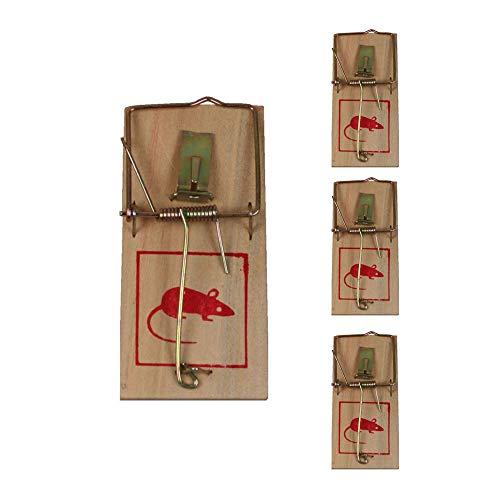 zshop24 Mausefallen (4 Stück) Schlagmausefalle - wiederverwendbar - Klassische Holz-Mausefalle mit Metallbügel - Schlagfalle - Mäusefalle