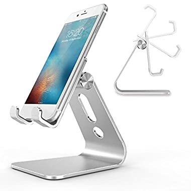 Cell Phone Stand, OMOTON Adjustable Aluminum Desktop Cellphone Tablet Stand Holder for Cellphones (All size), iPhone and E-readers, Silver