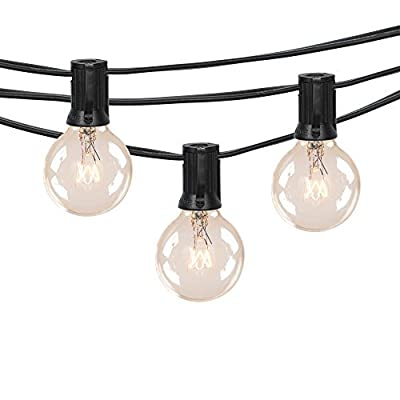25Ft Globe String Lights,Vintage Backyard Patio Lights with 25 Clear Globe Bulbs-UL listed for Indoor/Outdoor Use, Globe Wedding Light String, Umbrella String Lights ¡