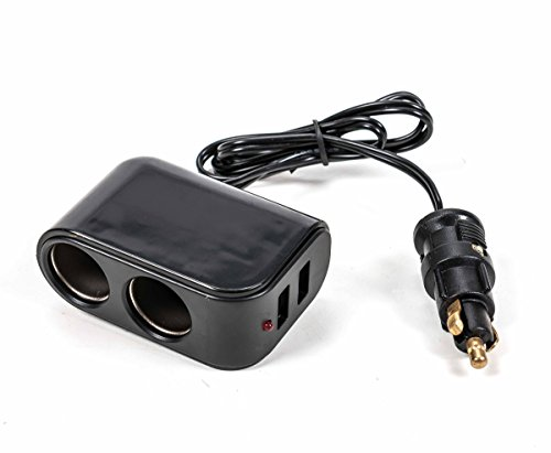 All Ride Adapter/Ladegerät für Normsteckdosen, 2X Zigarettenanzünder 2X USB, Kontrollleuchte, 12/24V, 5V/3,1A