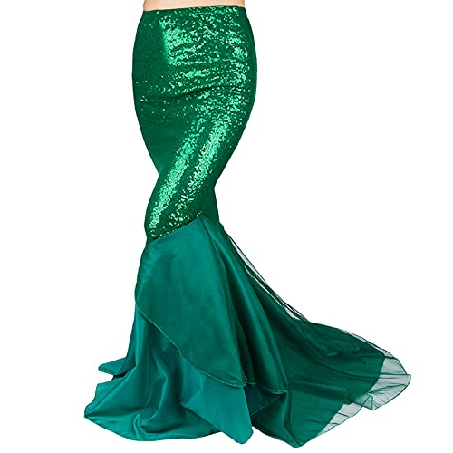 Women's Mermaid Costume Lingerie Halloween Cosplay Fancy Sequins Long Tail Dress with Asymmetric Mesh Panel (S, Green-Style 3)