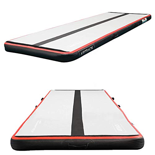 AirTrack 10' Inflatable Gymnastics Mat with Air Pump | Compact Home Gym Exercise Equipment | 3ft x 10ft x 4 Inch Thick Tumbling Air Mat
