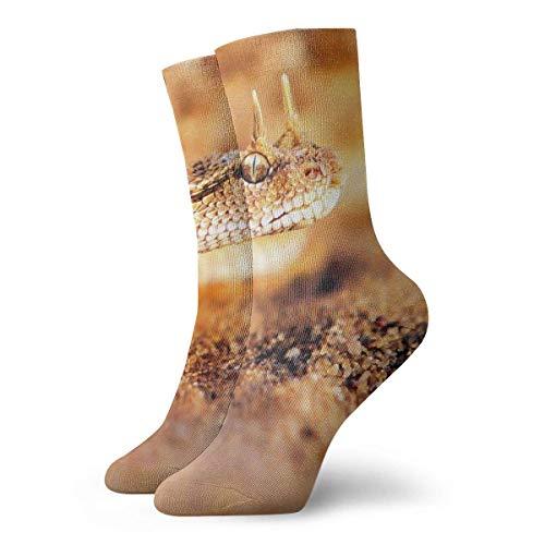 shenguang - Calcetines deportivos unisex con cojín de tobillo alto, cara de arena y serpiente