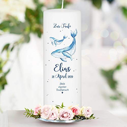 Taufkerze Blauer Wal mit Wunschdaten - Kerze zur Taufe, Geburt oder Kommunion - 25 x 8 cm/mit eigenem Taufspruch/Junge