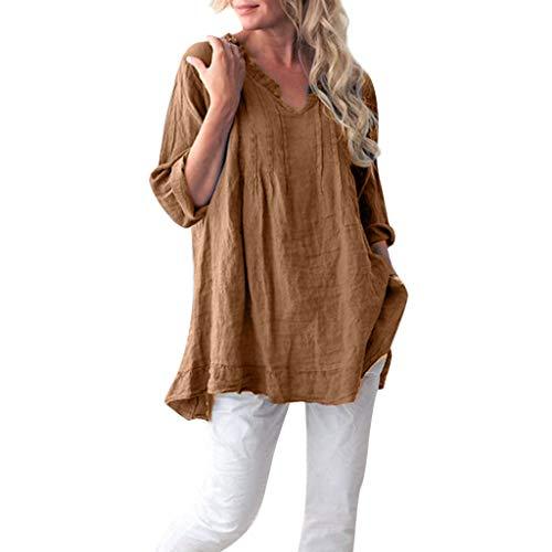 Zolimx Damen T-ShirtTop Knopfleiste Bluse Einfarbig Kurzarm/Langarm Casual Bluse Tunika Top Frauen Beiläufige Feste Lange Hülse V-Ansatz gekräuselte Falten Pullover Shirt Tops Bluse