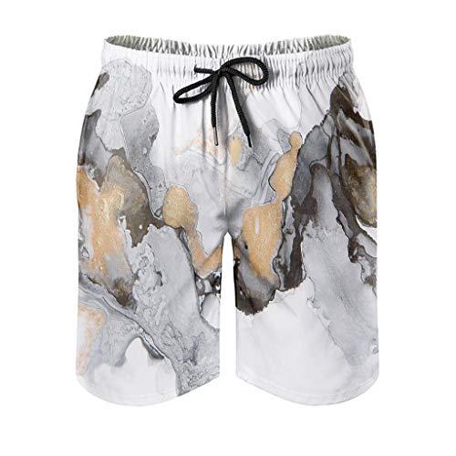 Dessionop Pantalones cortos de playa para hombre, estilo vintage, tinta de mármol, pantalones cortos de agua, con forro de bolsillo, ligeros, blancos, 3XL