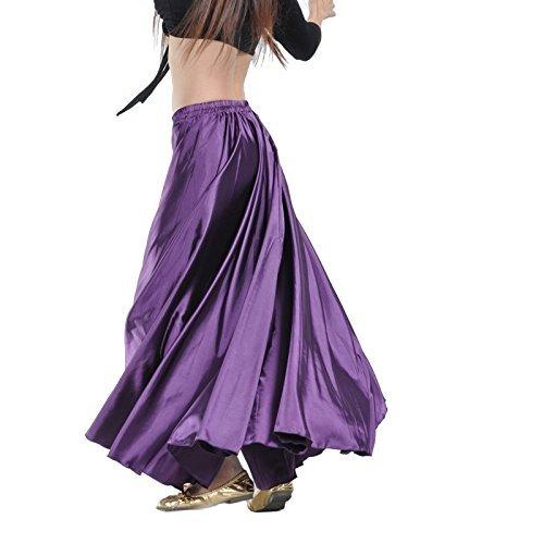 Gonna Calcifer per danza del ventre, lunga, in raso, da donna, per costumi e danzatrici professioniste, Purple