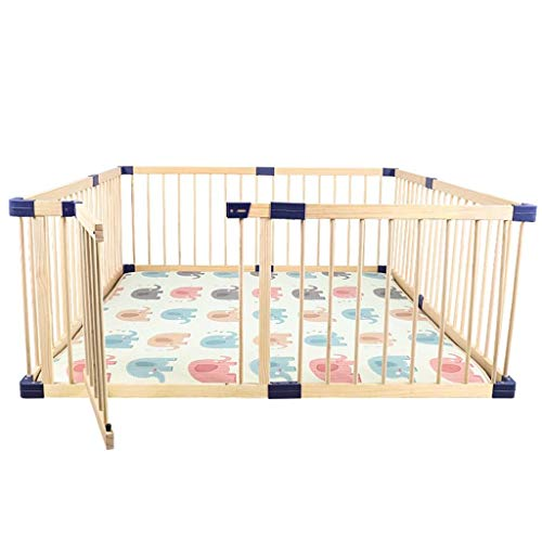 PNFP Extra Large Wooden Baby Playpen with Door - Kids Safety Play Center Yard, Home Nursery Indoor Outdoor Fence, Play Pen Room Divider (Size : 160×200×61cm)