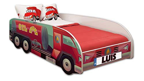 ACMA Kinderbett Autobett Lattenrost LKW Truck Schlafzimmer Kindermöbel Spielbett 140 x 70 cm 160 x 80 cm (160x80 cm mit Matratze, 09 + Name)