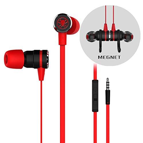iXing G20 Kabelgebundene Gaming-Kopfhörer mit Geräuschunterdrückung, Stereo-Bass-Magnet-Kopfhörer mit 3,5-mm-Verlängerungskabel und PC-Adapter für Laptop und Handys rot