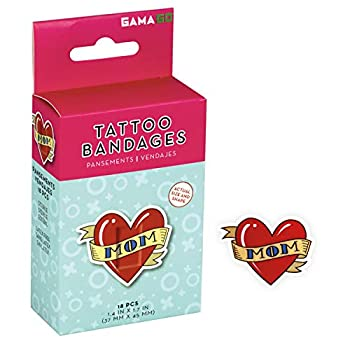 GAMAGO Mom Tattoo Bandages for Kids & Kidults - Set of 18 Individually Wrapped Self Adhesive Bandages - Sterile Latex-Free & Easily Removable - Funny Gift & First Aid Addition
