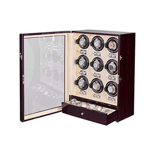 Oksmsa Cajas Giratorias para Relojes, Piano Terminar con Ajustable Reloj Almohadas, Devanado Espacios Mira Winders para Automático Relojes, Y Cajón De Almacenamiento (Size : 9+6)