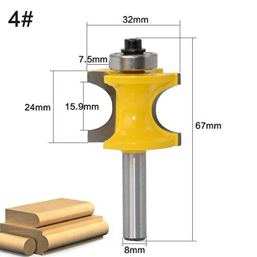 Yintiod 8 mm schacht bullnose parel kolom face moulding frees set C3 hardmetalen bezette houtbewerkingsgereedschap concaaf radius frees 04 geel