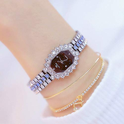 Xyamzhnn Quarz-Uhr for Frauen, Uhr-Quarz-Frauen, Dünne Quarz-Uhr, Achteckiges Zifferblatt Diamant Überzogenen Rhinestone-Armband Frau Quarzuhr (Color : Silver Shell Blue Diamond)