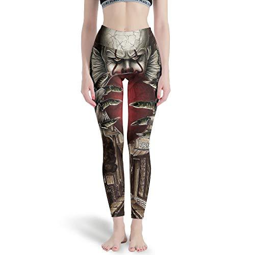 Dessionop Leggings de yoga de cintura alta para mujeres, terror, jazón, Halloween, impresión de tobillo, leggings Blanco 3 S