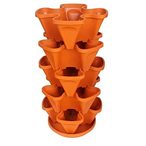 TOPofly Apilable Flor Torre Multi-Capa Vertical Tiesto plantador de Cuatro pétalos de plástico con Bandeja para Strawberry Huerto Balcón Regalo de Orange