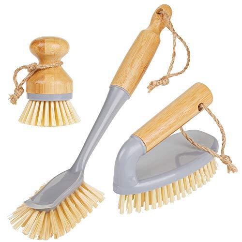mDesign Juego de 3 cepillos de bambú para limpieza – Cepillo redondo y escobilla con mango para fregar ollas y sartenes – Robusto cepillo manual para suelos y paredes – gris/natural