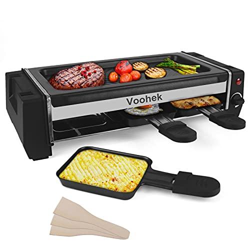 Raclette Grill 2 Personen, Mini Raclette mit Regelbarer Thermostat, Antihaftbeschichtete Abnehmbar Grillplatte 3 Mini Pfännchen & 3 Schaber, 700 Watt