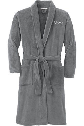 Personalized Plush Microfleece Robe with Embroidered Name, Smoke, Small/Medium