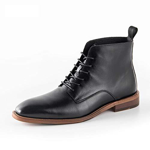XER Mens Cowboy laarzen, Casual lederen schoenen, Chelsea enkel laarzen lederen zakelijke jurk avondschoenen zwart rijden puntige teen laarzen