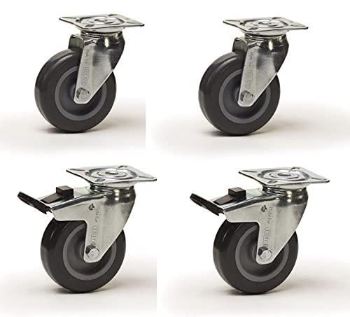 Lot roulettes pivotantes et pivotantes à frein caoutchouc gris 100 mm - 270 Kg