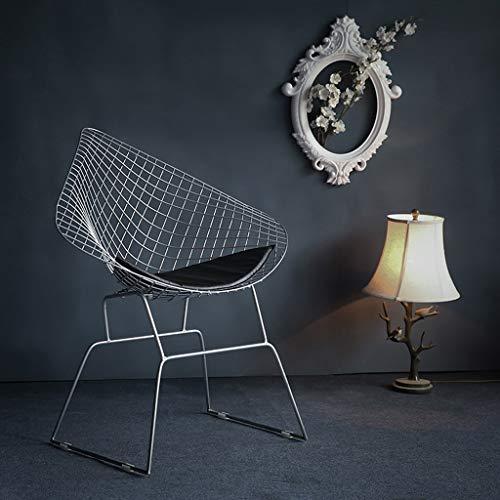Kmgjc Stuhl - Bertoia Style Diamond Metall Freizeit Draht Lounge Patio (Farbe : Silber)
