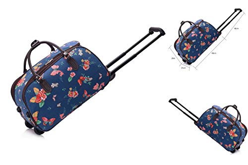 Ladies Travel Holdall Trolley Luggage with Wheels [L 48 x W 25 x H 29 cm] Navy Butterfly Canvas Cabin Approved (Butterfly Navy)