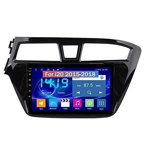 Navigatore GPS Android doppio Din da 9 pollici per Hyundai i20 2015-2018 Autoradio Radio Sat Nav Touch Screen Video per retromarcia Lettore multimediale Ricevitore video, 4G Wifi 2G + 32G