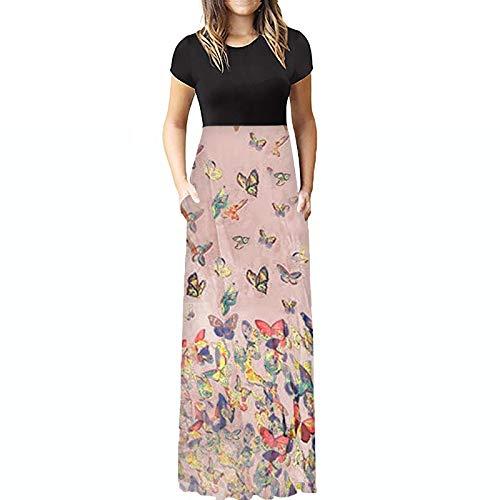 Dosoop - Vestidos de verano para mujer, estilo casual, estampado de mariposas, manga corta, cuello redondo, holgado, playa, Amarillo, XXL