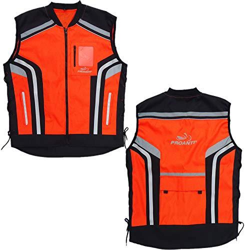 PROANTI Motorrad Warnweste Sicherheitsweste Motorrad Quad Neon Weste Größe L