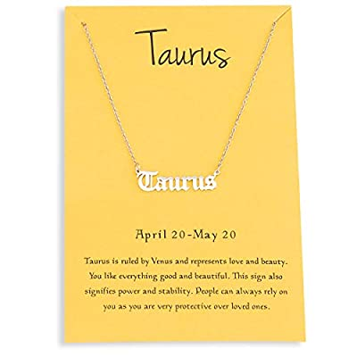 Zealmer Retro Old English Letter Taurus Necklace for Women Silver